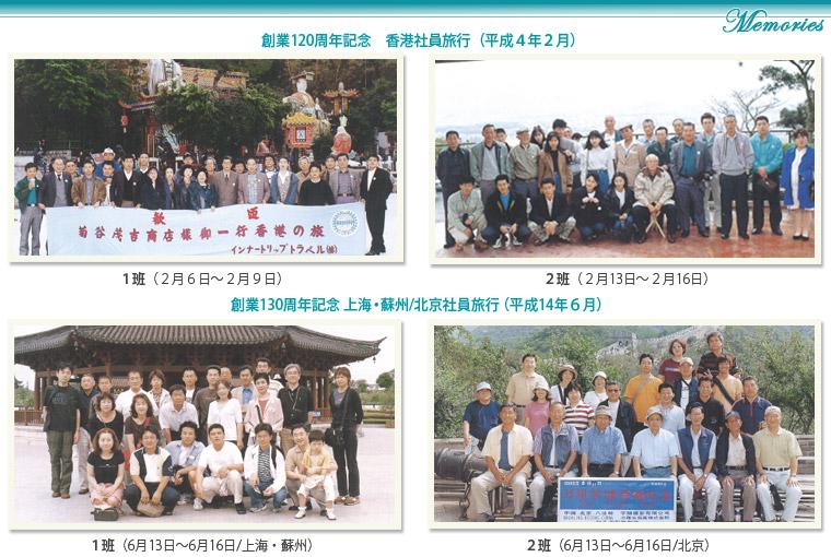 菊谷茂吉商店120周年、130周年記念社員旅行記念写真